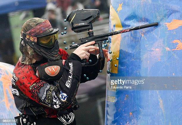 Paintball player takes part in the court of the Millennium Series 2010 at Fuengirola beach on April 18 2010 in Fuengirola Spain