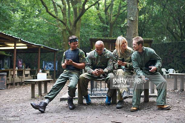 Paintball players taking a break