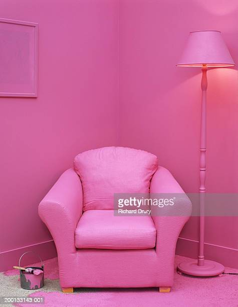 paintbrush and can on floor in room with furniture painted pink - rosa cor - fotografias e filmes do acervo