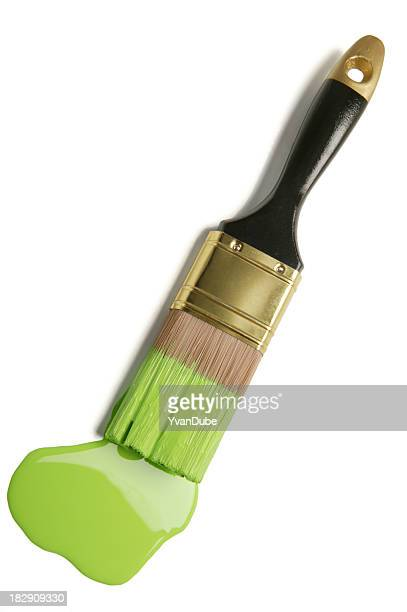 paintbrush and green paint blob(w/clipping path)