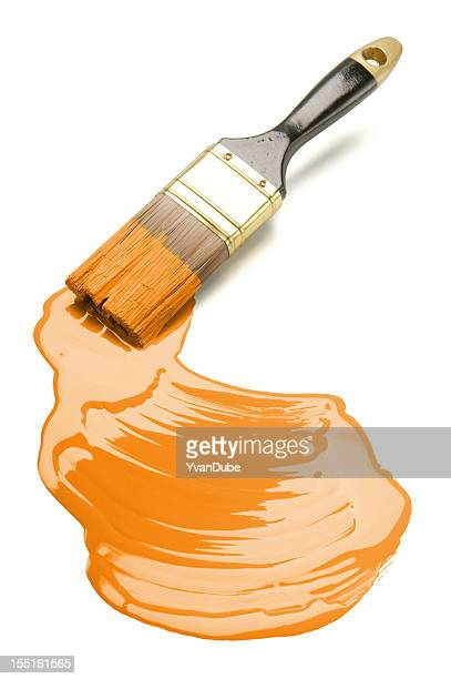 Pinsel und orange Farbe Fleck (Mit clipping path