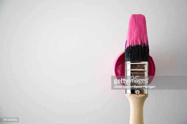 A paintbrush on top of a paint tin