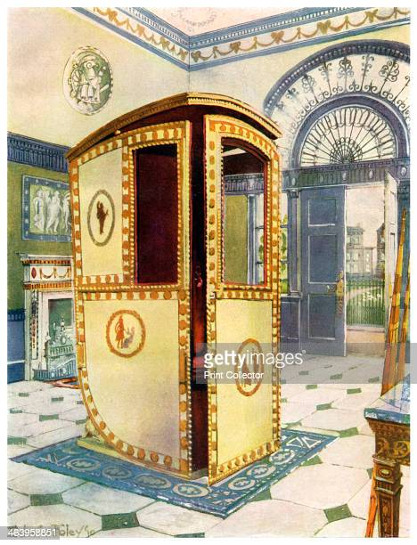 Painted and lacquered sedan chair with domed top 19111912 A print from The Book of Decorative Furniture its Form Colour and History Volume II by...