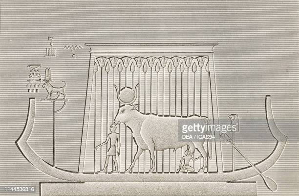 Painted bas-relief over a door of the shrine's hallway, Dendera Temple complex, Egypt, engraving by Pomel after a drawing by Dutertre, from...