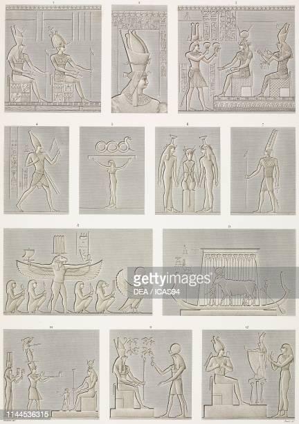 Painted bas-reliefs, Dendera Temple complex, Egypt, engravings by Pomel after drawings by Dutertre, from Description de l'Egypte, ou Recueil des...