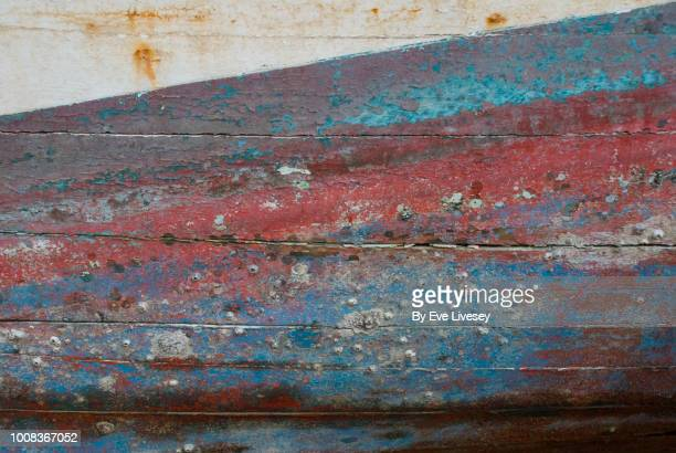 painted boat texture - barnacle stock pictures, royalty-free photos & images