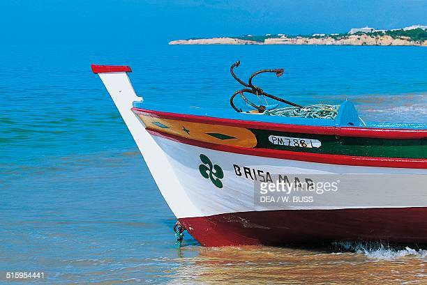 Painted bow of a fishing boat Armacao de Pera Algarve Portugal