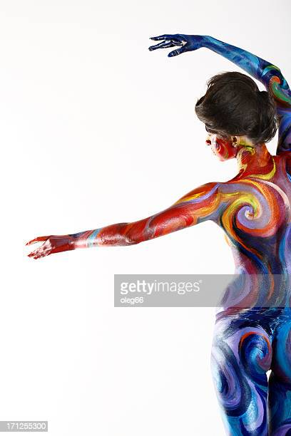 Painted bright young woman