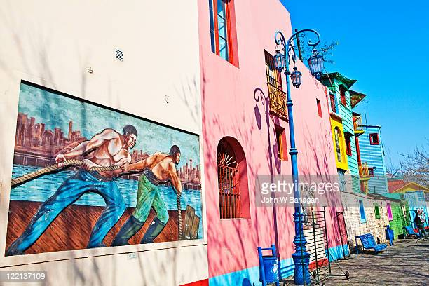 painted buildings, caminito, la boca, buenos aires - buenos aires stock pictures, royalty-free photos & images