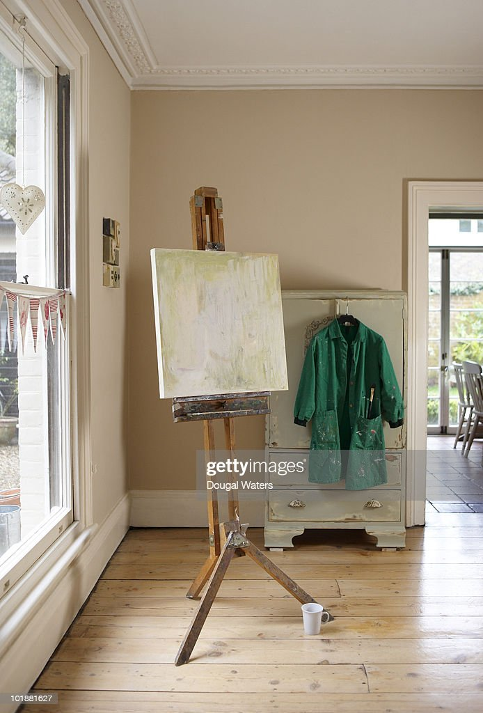 Painted canvas in home. : Stock Photo