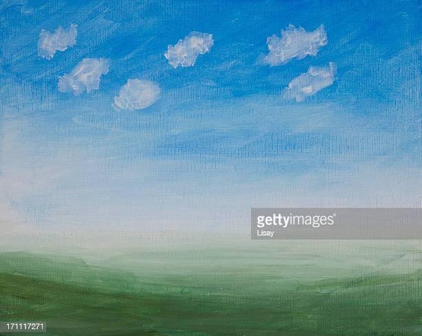 Bemalte Leinwand-orientierte Landschaft