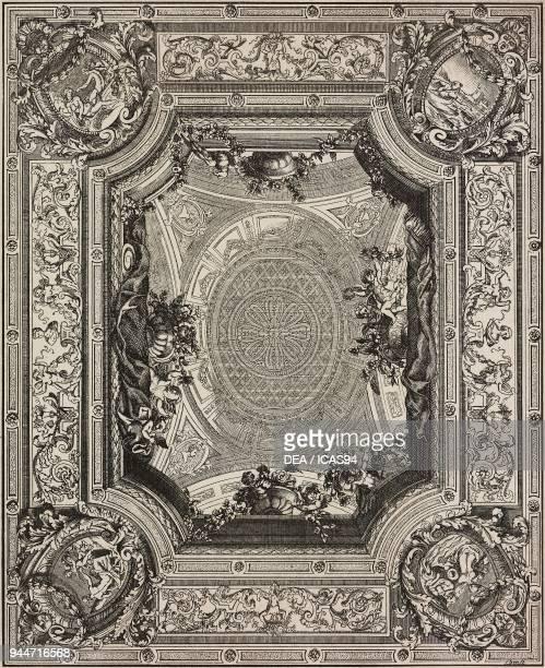 Painted ceiling engraving by Daniel Marot from L'Art pour Tous Encyclopedie de l'art industriel et decoratif by Emile Reiber No 11 Paris 1861
