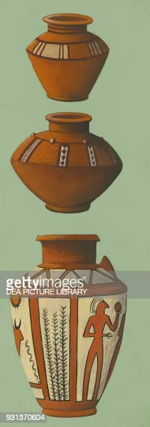 Painted clay vases drawing Sumerian civilization 40001500 BC
