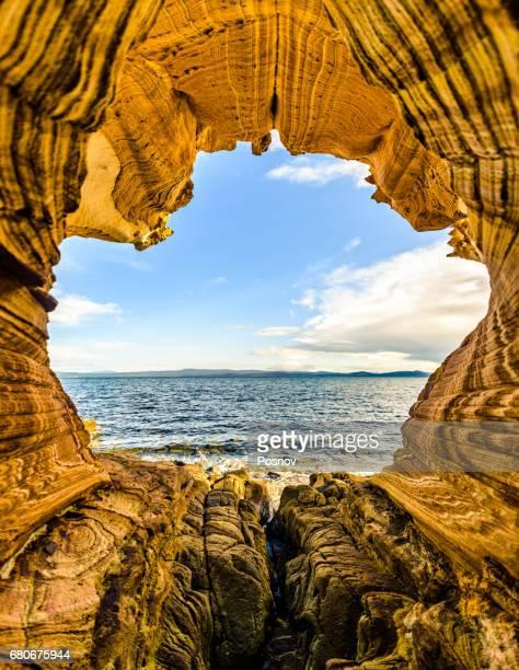 painted cliffs of maria island, tasmania - tasmania stock pictures, royalty-free photos & images