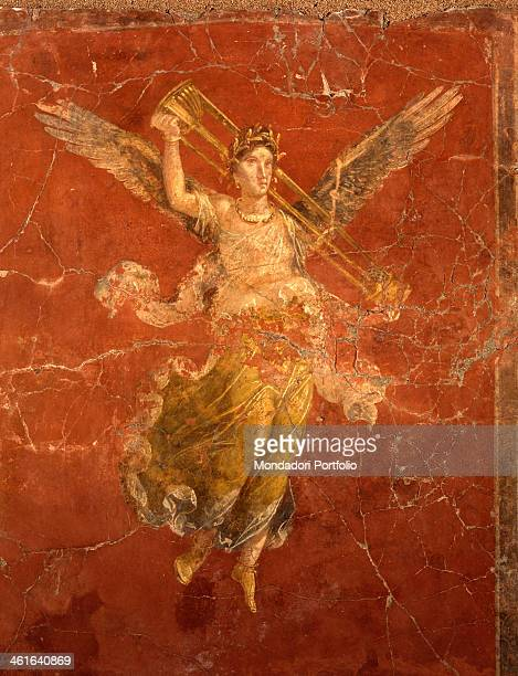 Painted decoration in Moregine by Unkown Artist 1st Century AD painting on wall Italy Campania Naples Moregine Detail Winged victory with tripod...