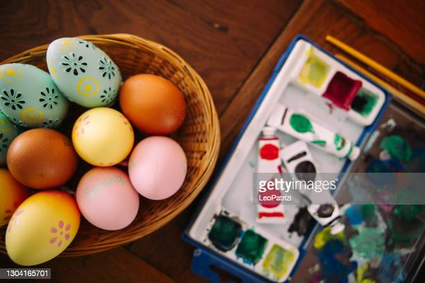 painted easter eggs - tempera painting stock pictures, royalty-free photos & images
