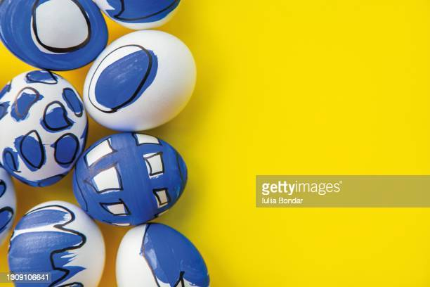 painted easter eggs. - easter sunday stock pictures, royalty-free photos & images