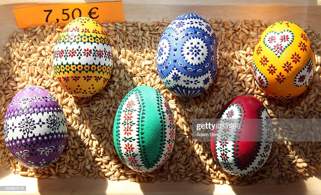 Painted Easter Eggs Sit On Display For At The Annual Sorbian Market March