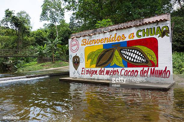 Painted entrance plate at cocoa plantation in Venezuela