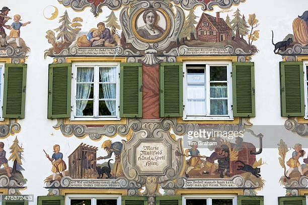 Painted facade of Grimms Fairy Tale story of Hansel and Gretel in the village of Oberammergau in Bavaria Germany