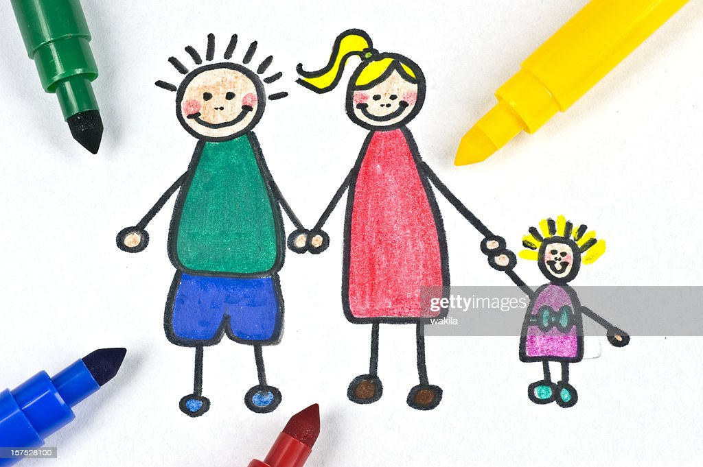 painted family illustration : Stock Photo