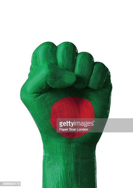 painted flag of bangladesh on a hand, white studio - flag of bangladesh stock pictures, royalty-free photos & images