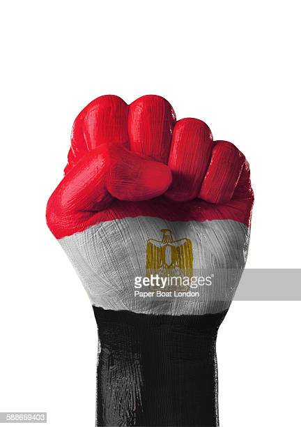 painted flag of egypt on a hand in white studio