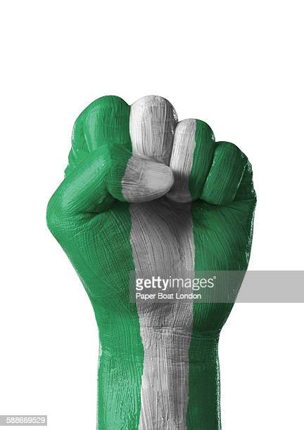 painted flag of nigeria on a hand in white studio - nigerian flag stock photos and pictures