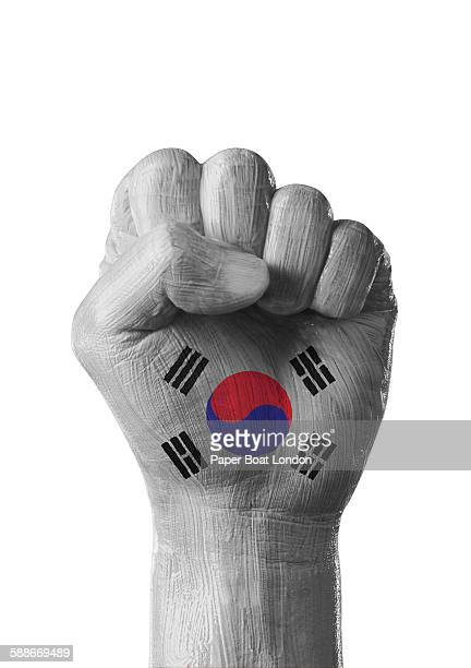 painted flag of south korea on a hand, white
