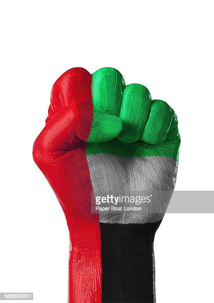 painted flag of UAE on a hand in white studio