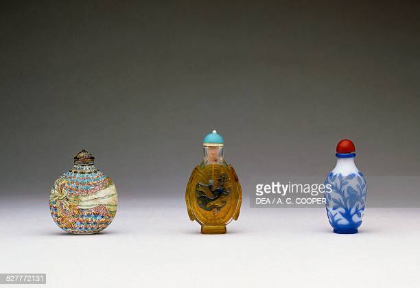 Painted glass and enamel snuff bottles China 18th century