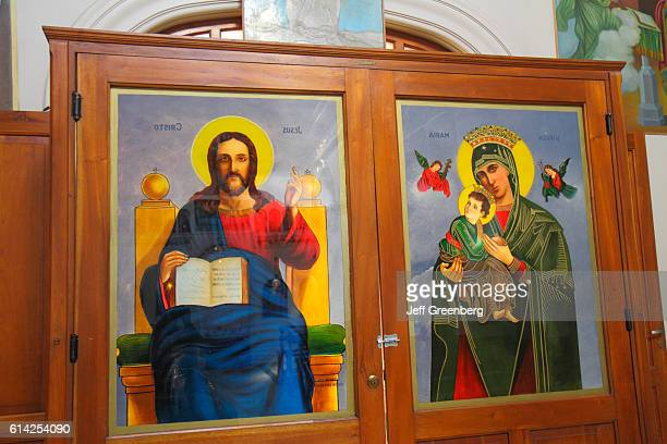 Painted glass doors with Jesus Christ and the Virgin Mary Orthodox Catholic Church Avenida Barlotome Mitre