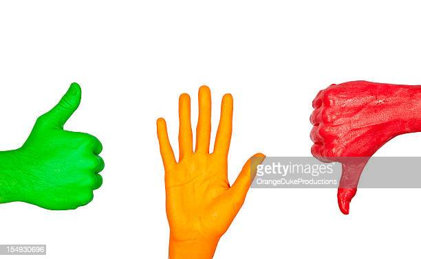 painted hand signs - road signal stock pictures, royalty-free photos & images
