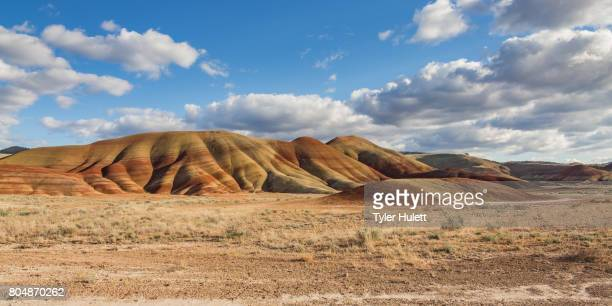 painted hills in spring with light clouds - 荒野 ストックフォトと画像
