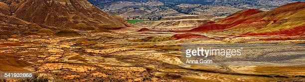 painted hills overlook panorama, oregon - fossil site stock pictures, royalty-free photos & images