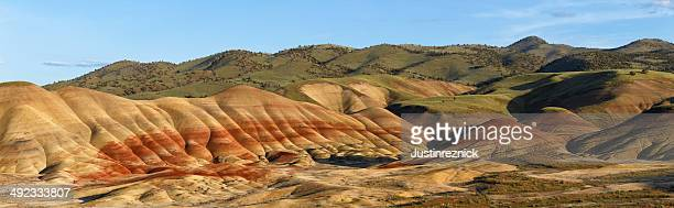 painted hills panorama - painted hills stock pictures, royalty-free photos & images