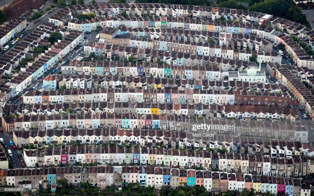 Painted houses in terraced streets are seen from the air on the second day of the Bristol International Balloon Fiesta on August 11, 2017 in Bristol, England. More than 130 balloons have gathered for the four day event, now in its 39th year and now one of Europe's largest annual hot air balloon events, being hosted in the city that is seen by many as the home of modern ballooning.