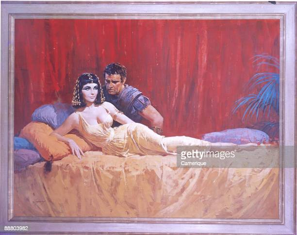 Painted illustration showing Richard Burton as Marc Anthony leaning into a reclining Elizabeth Taylor as Cleopatra 1963
