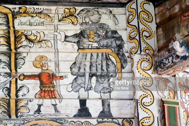 Painted interior decoration in the Rose Church showing David and Goliath