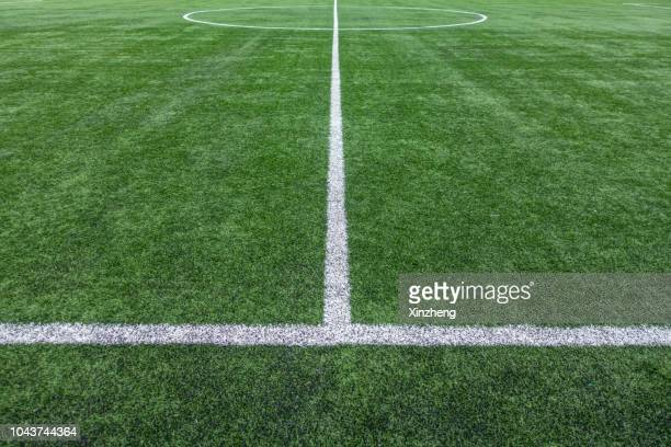 painted lines on soccer field - pelouse photos et images de collection
