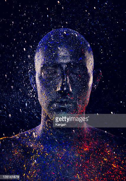 painted man - body paint stock pictures, royalty-free photos & images