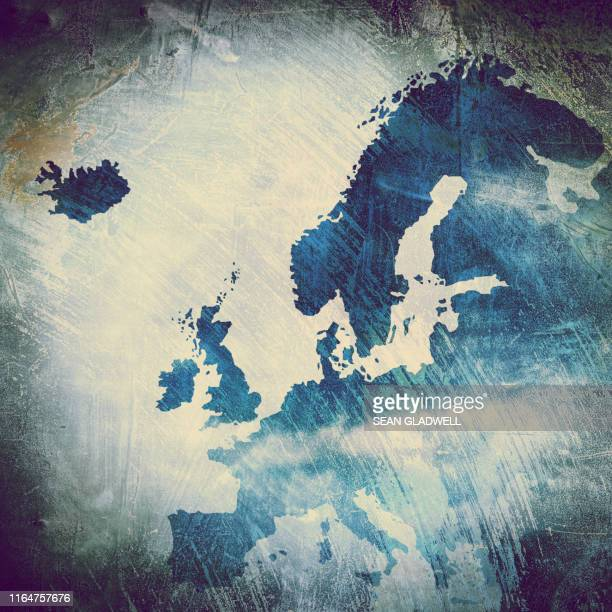 painted map of europe - europa continente foto e immagini stock