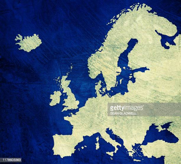 painted map of europe - europe stock-fotos und bilder