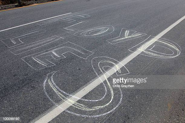 Painted message on the road about Floyd Landis is seen during stage five of the Tour of California on May 20, 2010 in Bakersfield, California.