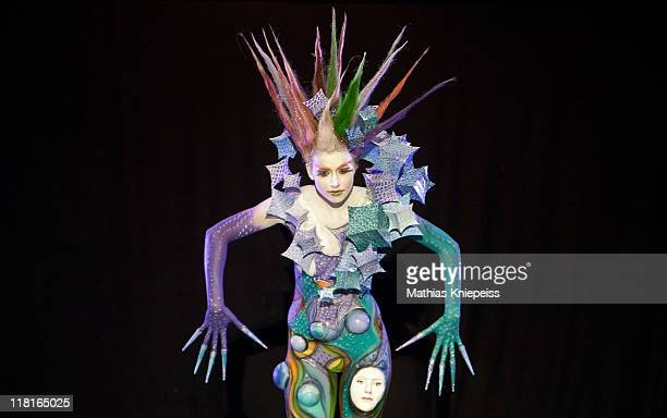 Painted model poses for photographers on the final day at the World Bodypainting Festival 2011 on July 3, 2011 in Poertschach, Austria. The festival...