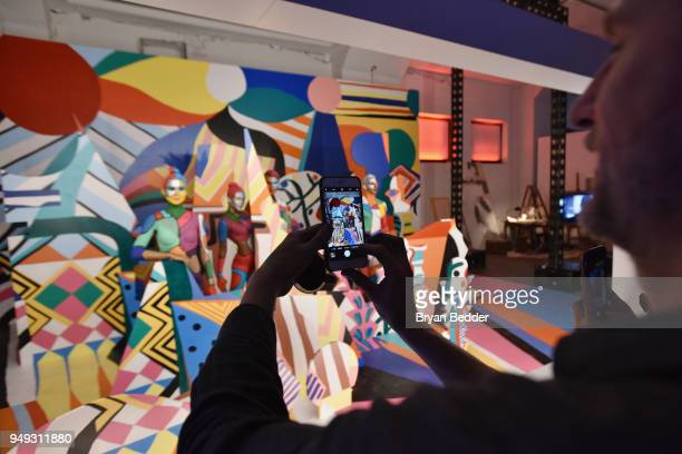 """Painted models pose during the National Geographic """"Genius: Picasso"""" Tribeca Film Festival after party at The Genius Studio, 100 Avenue of the..."""