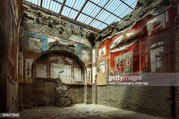painted murals and frescoes  inside a room at the ancient roman ruins at herculaneum (ercolano), campania, italy - affresco foto e immagini stock