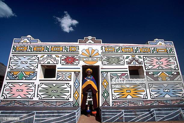 painted ndebele house, south africa - village stock pictures, royalty-free photos & images