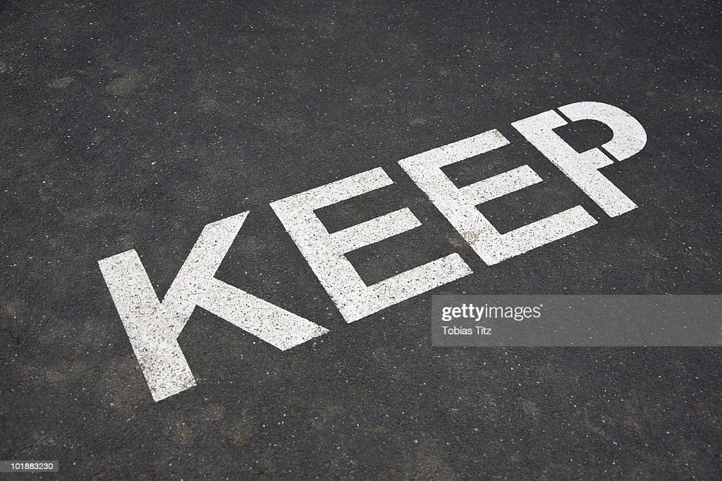 KEEP painted on asphalt,  Melbourne, Victoria, Australia : Stock Photo