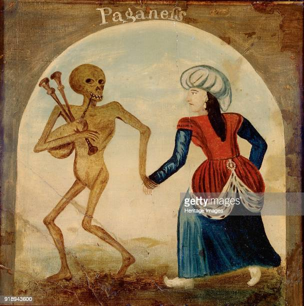 Painted panel 18th century Death leading a pagan woman Dimensions height x width x depth 545 x 545 cm